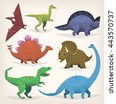 cute cartoon dinosaurs from... | Shutterstock .eps vector #443570737