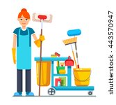 professional cleaner woman with ... | Shutterstock .eps vector #443570947