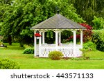 Lovely White Gazebo With Red...