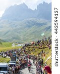 Small photo of COL DU GLANDON, FRANCE - JUL 23: Group of cyclists riding on the road to Col du Glandon during the stage 18 of Le Tour de France on July 23, 2015