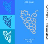 Web Line Icon. Grapes  Bunches...