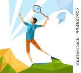 tennis player sport game...   Shutterstock .eps vector #443637457
