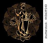 krishna janmashtami   hindu... | Shutterstock .eps vector #443639143