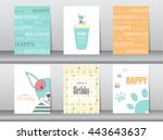 set of birthday cards poster... | Shutterstock .eps vector #443643637