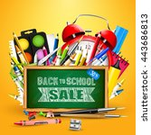 school supplies and blackboard... | Shutterstock .eps vector #443686813