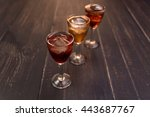 glasses with ice in cherry....   Shutterstock . vector #443687767