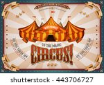 vintage circus poster with big... | Shutterstock .eps vector #443706727
