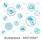 analytics data icons and... | Shutterstock .eps vector #443719417