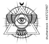 esoteric symbol  winged pyramid ... | Shutterstock .eps vector #443722987