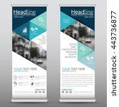 blue roll up business brochure... | Shutterstock .eps vector #443736877