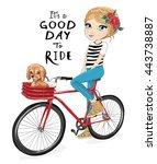 cute girl vector.cartoon... | Shutterstock .eps vector #443738887
