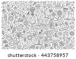 line art vector hand drawn... | Shutterstock .eps vector #443758957