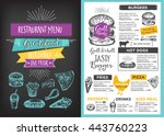 menu placemat food restaurant... | Shutterstock .eps vector #443760223