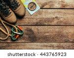 top view of travel equipment... | Shutterstock . vector #443765923