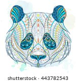 patterned head of panda on the... | Shutterstock .eps vector #443782543