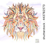 patterned head of the lion on... | Shutterstock .eps vector #443782573