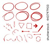 set of red circles and frames | Shutterstock .eps vector #443797933