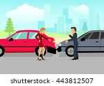 simple cartoon of two drivers... | Shutterstock .eps vector #443812507