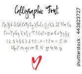 calligraphy alphabet. modern... | Shutterstock .eps vector #443823727