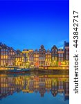 Stock photo amstel river canals and night view of beautiful amsterdam city netherlands 443842717