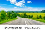 rural paved road among green... | Shutterstock . vector #443856193