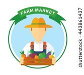 farmer logo. cartoon farmer... | Shutterstock .eps vector #443861437