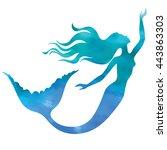 mermaid swimming  vector...   Shutterstock .eps vector #443863303