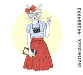 cat girl hipster with photo...   Shutterstock .eps vector #443884993