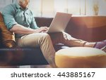 bearded hipster working laptop... | Shutterstock . vector #443885167