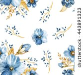 seamless floral pattern with... | Shutterstock . vector #443891323