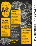 mexican menu placemat food... | Shutterstock .eps vector #443891647