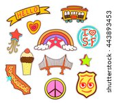 san francisco set of quirky... | Shutterstock .eps vector #443893453