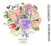 summer vintage floral greeting... | Shutterstock .eps vector #443895553