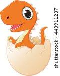 happy baby dinosaur hatching | Shutterstock .eps vector #443911237
