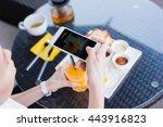 woman hands taking food photo... | Shutterstock . vector #443916823