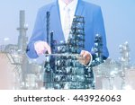 double exposure of businessman... | Shutterstock . vector #443926063