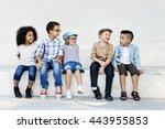 kids happiness fun smiling... | Shutterstock . vector #443955853