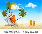tropical seaside with palms  a... | Shutterstock .eps vector #443956753