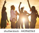 people having fun on beach... | Shutterstock . vector #443960563