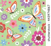 spring pattern with cute... | Shutterstock .eps vector #443974867