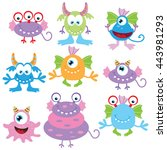 funny monster vector... | Shutterstock .eps vector #443981293