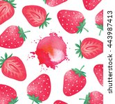 fresh ripe strawberries with... | Shutterstock . vector #443987413