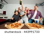 friends watch sports together ... | Shutterstock . vector #443991733