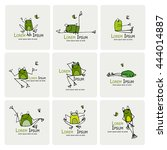 funny frogs collection  sketch... | Shutterstock .eps vector #444014887