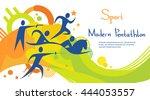 pentathlon athlete sport game... | Shutterstock .eps vector #444053557