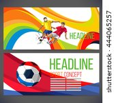 concept of soccer player with... | Shutterstock .eps vector #444065257