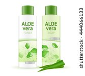 leaves and bottles with aloe... | Shutterstock .eps vector #444066133