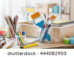 paint brushes and crafting... | Shutterstock . vector #444082903