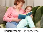 happy little girl and grandma... | Shutterstock . vector #444092893