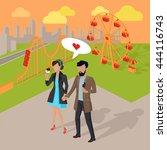 couple in love spending time in ...   Shutterstock .eps vector #444116743